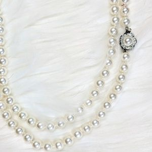 Signed Japan Long Pearl Necklace